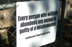 A sign at the Valley Oak SPCA reminds visitors of pet-dumping laws.