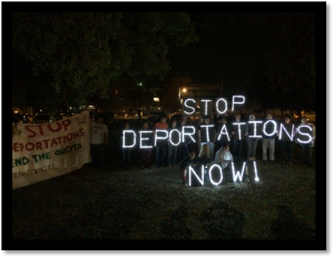Tulare County for Families' 'light brigade' protest.