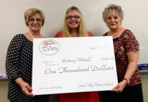 Pictured (left to right) are Chairman Deborah Brantley, scholarship winner Brittany Withnall and Co-Chairman Sondra Jones.