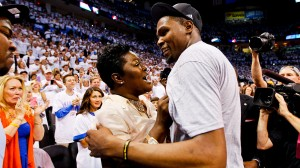 Mama Durant and son, Kevin Durant