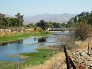 McKay's Point Reservoir would divert water from the Kaweah River (pictured above). The reservoir would be located just over the berm.