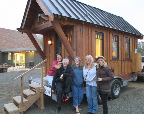 B.A. Norrgard (left) with prospective tiny house owners.