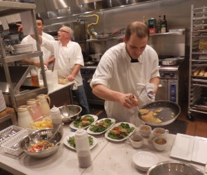 Chef Fred Imbert and staff in action on opening night.