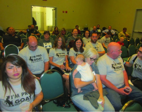 Pro-goat activists at the July 6 Visalia City Council meeting.