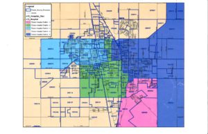The map above shows the five Tulare Hospital District zones. Courtesy/Tulare County Registrar of Voters