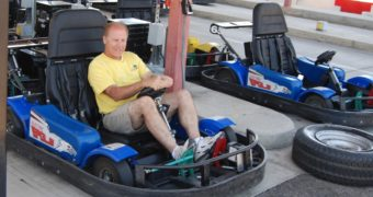 Adventure Park manager and partner Roger Hurick gets set to take a drive on the park's Family Track in Visalia. Nancy Vigran/Valley Voice