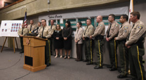 Sheriff Mike Boudreaux speaks to the media Thursday, Aug. 11, 2016, about a human trafficking organization in Tulare County. The Tulare County Sheriff's Office busted this trafficking ring that lured 23 juvenile and 29 adult victims  into sexual exploitation through social media. Courtesy/Teresa Douglass/TCSO