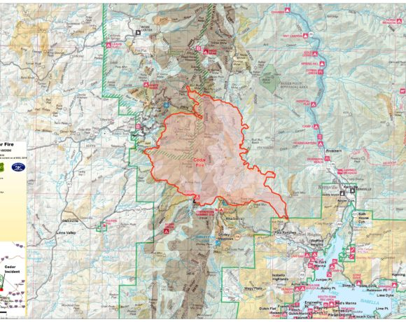 A map showing the location range of the Cedar Fire.